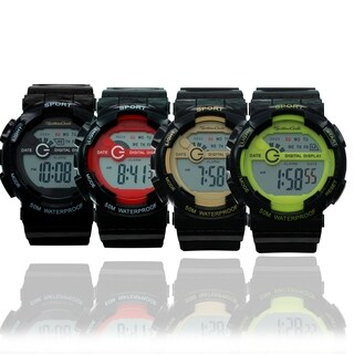 Montres Carlo 5 ATM Water Resistant Rubber Strap LCD Watch