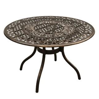 Outdoor Mesh Lattice Aluminum 48 inch Bronze Round Dining Table