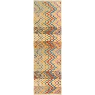 Kilim Arya Melida Gray/Lt. Gray Wool Rug (2'11 x 9'11) - 2 ft. 11 in. x 9 ft. 11 in.