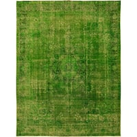 Vintage Distressed Over Dyed Color Reform Pia Lime Green/Green Wool Rug (9'7 x 12'11) - 9 ft. 7 in. x 12 ft. 11 in.
