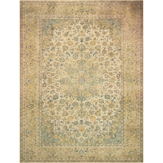 Vintage Distressed Over Dyed Color Reform Tenisha Ivory/Tan Wool Rug (9'9 x 12'11) - 9 ft. 9 in. x 12 ft. 11 in.