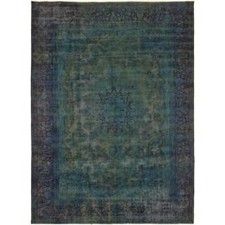 "Vintage Distressed Over Dyed Color Reform Brandee Teal/Blue Wool Rug (9'8 x 13'6) - 9' 8"" x 13' 6"""