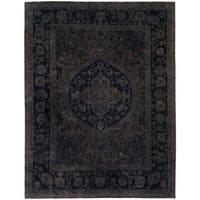 """Vintage Distressed Over Dyed Color Reform Wade Tan/Blue Wool Rug - 7'11"""" x  9' 2"""""""