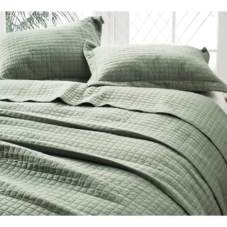 BYB Classic Supersoft Pre-Washed Cotton Quilt Set - Moss Green