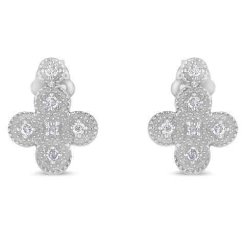 Sterling Silver 0.1ct TDW Art-Deco Inspired Cross Diamond Stud Earrings (I-J,I3)