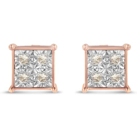 Rose Plated Sterling Silver 0.5ct TDW Diamond Quad Stud Earrings (J-K,I1-I2)
