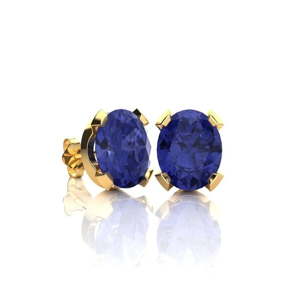2ct Tgw Oval Shape Tanzanite Stud Earrings In 14k Yellow Gold Over Sterling Silver Blue