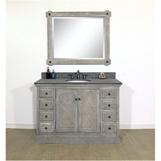 """48""""Rustic Solid Fir Single Sink Vanity in Distressed Grey-Driftwood Finish with Polished Textured Surface Granite Top-No Faucet"""
