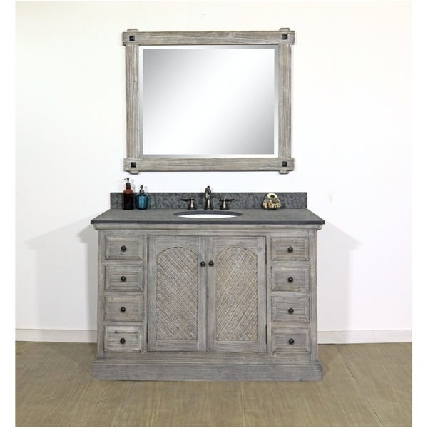 """Shop 48""""Rustic Solid Fir Single Sink Vanity In Distressed Grey-Driftwood Finish With Polished"""