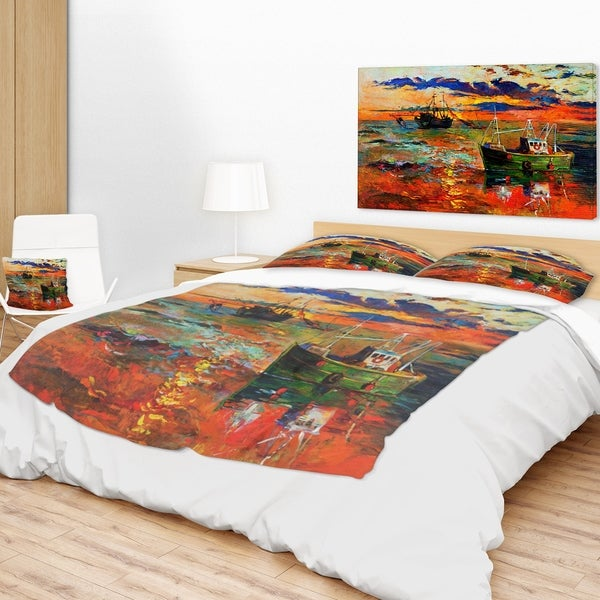Colorful Throw Blankets Gorgeous Designart 'Colorful Fishing Ships' Seascape Throw Blanket Free