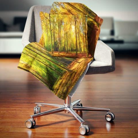Designart 'Gorgeous Autumn of Sunny Forest' Landscape Photography Throw Blanket