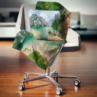 Designart 'Lake Between Mountains' Landscape Photography Throw Blanket (2 options available)
