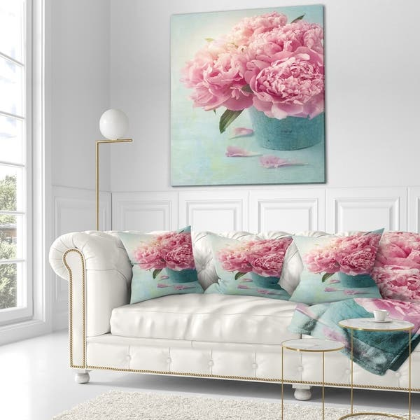 Designart Pink Peony Flowers In Vase Floral Throw Blanket On Sale Overstock 20845716 59 In X 71 In