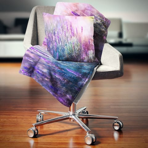 Designart 'Growing and Blooming Lavender' Floral Throw Blanket