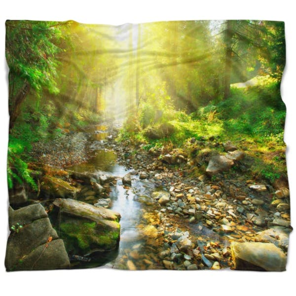 Shop Designart Mountain Stream In Forest Landscape Photography Throw Blanket Overstock 20845917