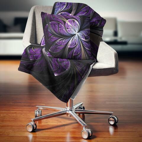 Designart 'Glittering Purple Fractal Flower' Floral Throw Blanket