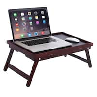 BirdRock Home Bamboo Lap Tray with Black Top | Foldable Breakfast Serving Bed Tray | Lap Desk | Laptop Stand | Walnut