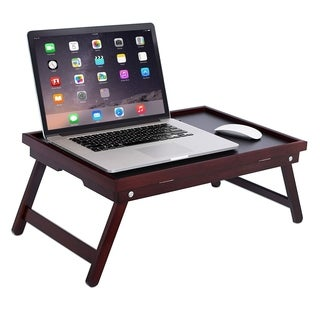 BirdRock Home Bamboo Lap Tray with Black Top Foldable Breakfast Serving Bed Tray Lap Desk Laptop Stand Walnut
