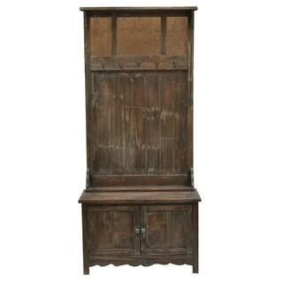 Rustic Antique Mirror 2-door Hall Tree