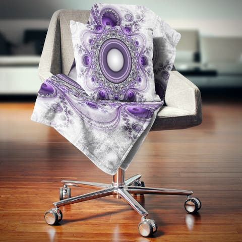 Designart 'Purple Fractal Pattern with Circles' Abstract Throw Blanket