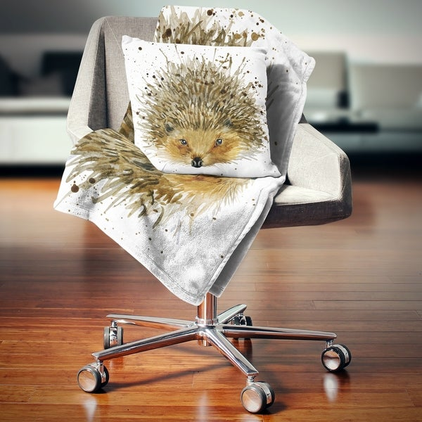 Designart 'Hedgehog Illustration Watercolor' Contemporary Animal Throw Blanket