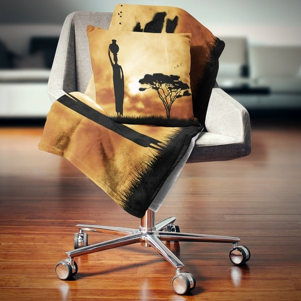Designart 'African Woman and Lonely Tree' African Landscape Fleece Throw Blanket. Opens flyout.