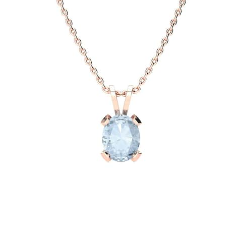 1ct TGW Oval Shape Aquamarine Necklace In 14K Rose Gold Over Sterling Silver, 18 Inches - Blue