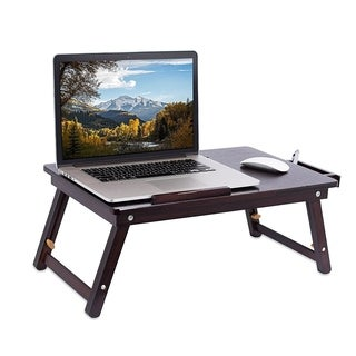 Sofia + Sam Bamboo Laptop Lap Tray with Adjustable Legs Foldable Breakfast Serving Bed Tray Lap Desk Laptop Stand Walnut