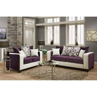 SofaTrendz Destiny Purple & White Sofa & Loveseat 2-pc Set