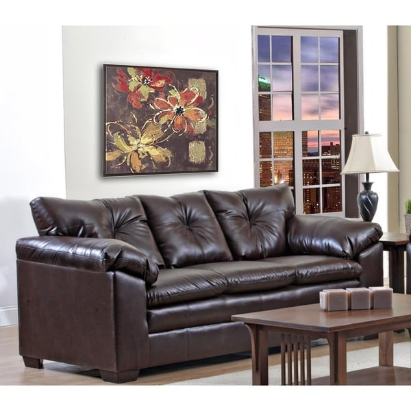 Shop Sofatrendz Delaware Brown Pu Leather Sofa Free Shipping Today