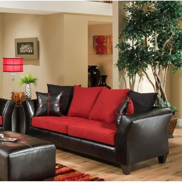 Shop SofaTrendz Dallas Red & Black Contemporary Sofa - Free Shipping ...