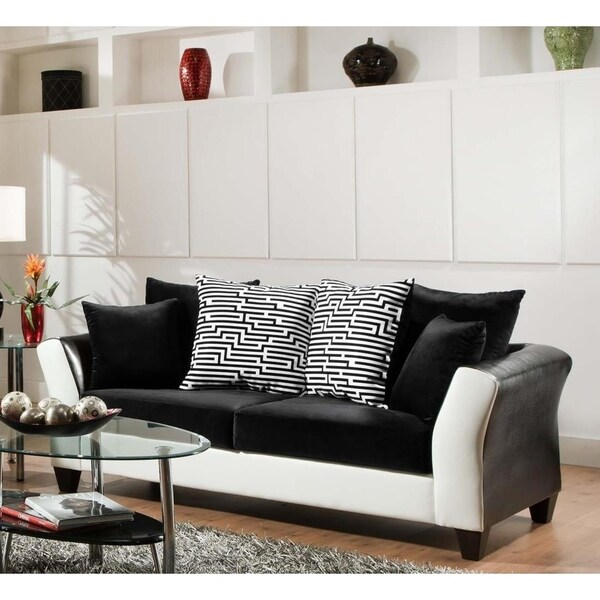 Shop SofaTrendz Dandridge Black & White Contemporary Sofa - Free ...