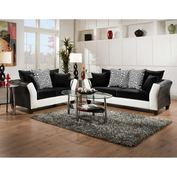 Shop SofaTrendz Dandridge Black & White Contemporary Sofa & Loveseat ...