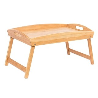 BirdRock Home Bamboo Bed Tray Wooden Curved Sides Breakfast Serving Tray with Folding Legs Natural