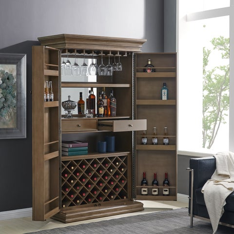 The Gray Barn Oriaga Weathered Gray Walnut Bar Storage Cabinet