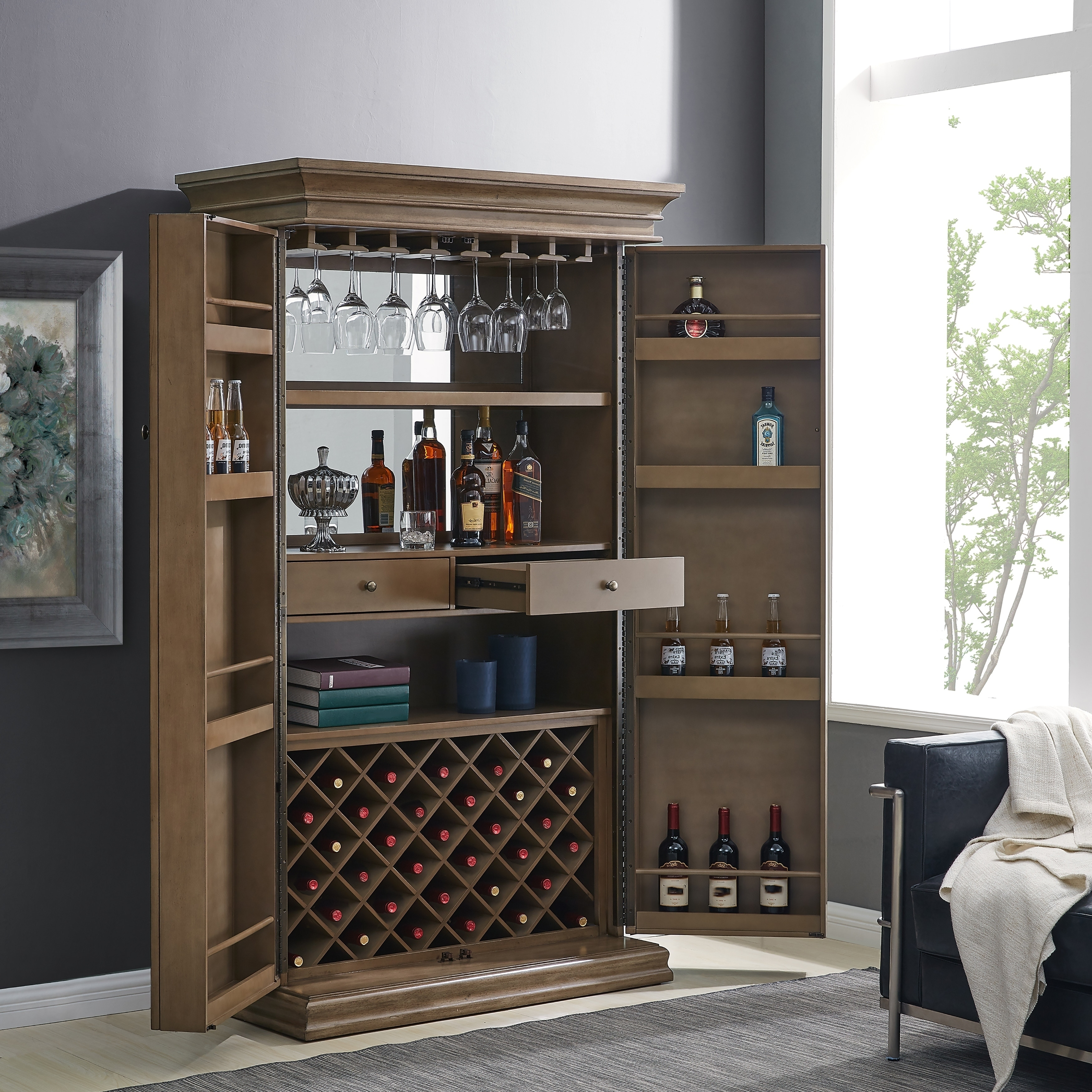 Home Bar Furniture Wine Alcohol Storage Xl Cabinet Tower Brown Led Lights Walnut
