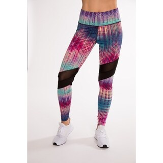 (5 Pack) Fitness Active Printed Legging With Asymmetrical Wave Mesh Inserts By Hot Kiss