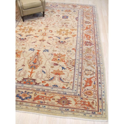 Hand-knotted Wool Ivory Traditional Oriental Agra sheared low Rug - 9' x 12'