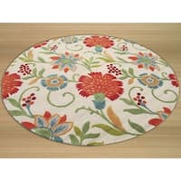 Hand-tufted Wool Ivory Transitional Floral Spring Garden Rug - 4' x 4'