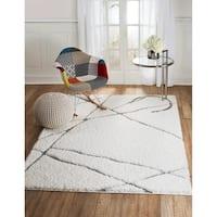 Lorena Collection - White, Abstract - V-Tex Design, Shaggy Area Rug - 5' x 7'