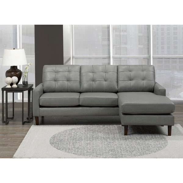 Billie Mid Century Modern Grey Top Grain Leather Tufted Sectional Sofa