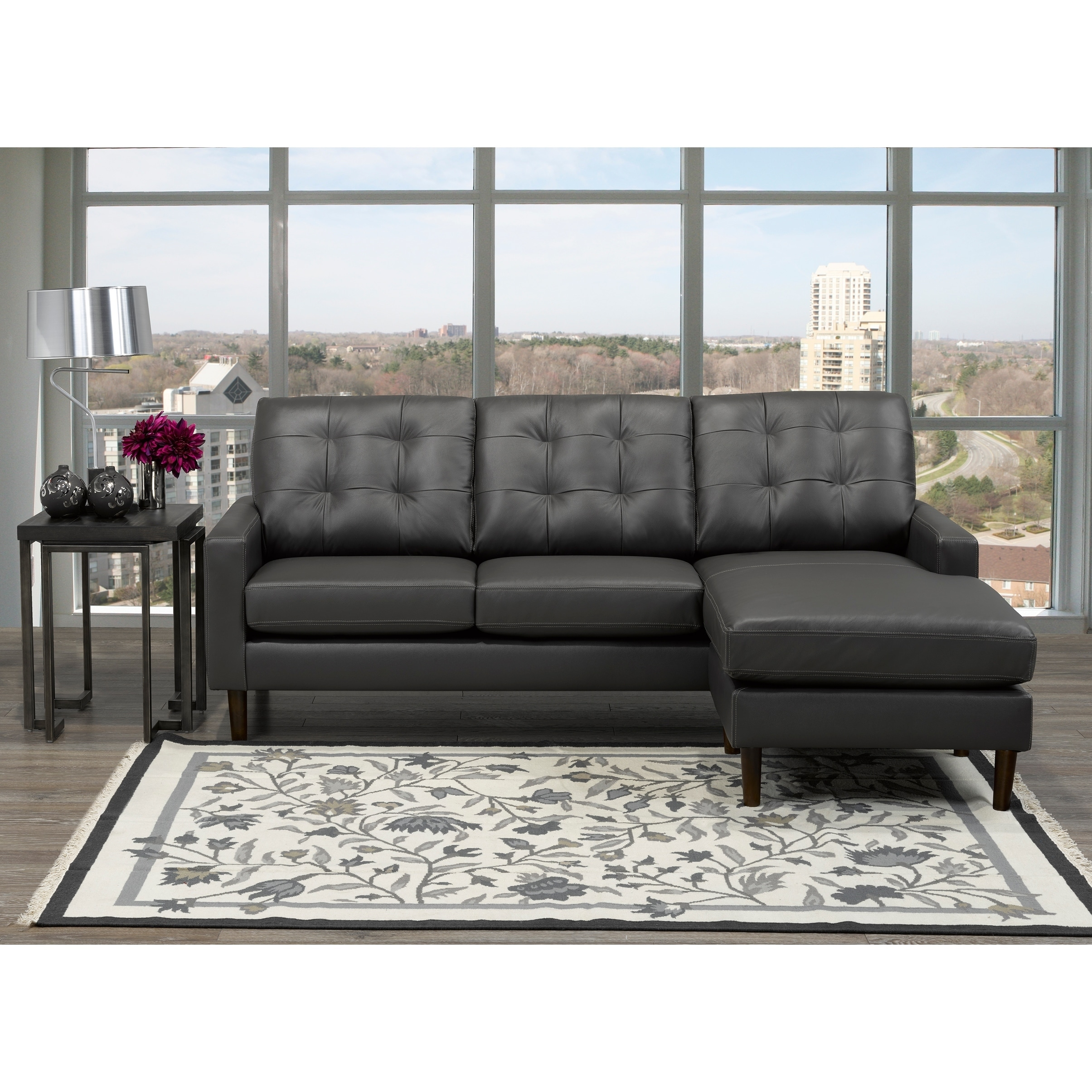 Chet Mid Century Modern Dark Grey Top Grain Leather Tufted Sectional Sofa Overstock 20847013
