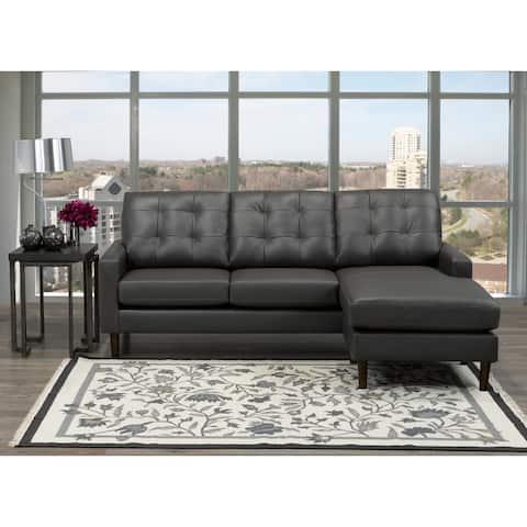 Chet Mid Century Modern Dark Grey Top Grain Leather Tufted Sectional Sofa