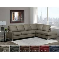 Dean Grey Top Grain Italian Leather Tufted Sectional Sofa