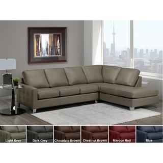Dean Grey Top Grain Italian Leather Tufted Sectional Sofa