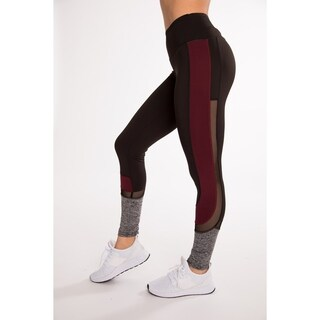 Burgundy Fitness Active Legging With C-Shaped Contrast Panel With Mesh By Hot Kiss