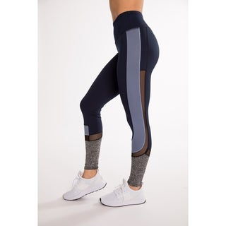 (4 Pack) Fitness Active Legging With C-Shaped Contrast Panel With Mesh By Hot Kiss