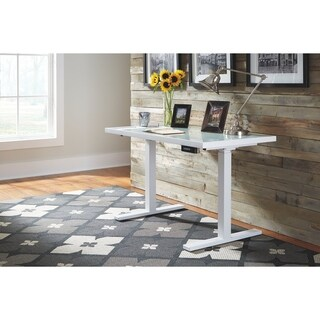 Signature Design by Ashley Baraga White Adjustable Height Desk