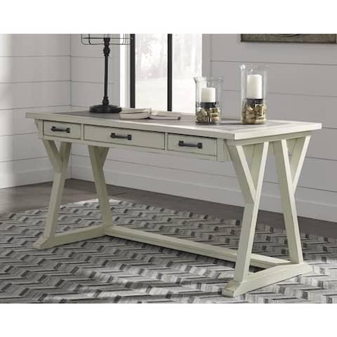 Jonileene White/Gray Home Office Large Leg Desk