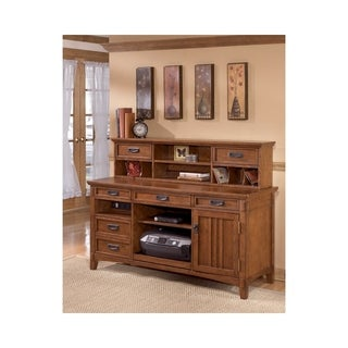 Signature Design by Ashley Cross Island Medium Brown Home Office Short Desk Hutch